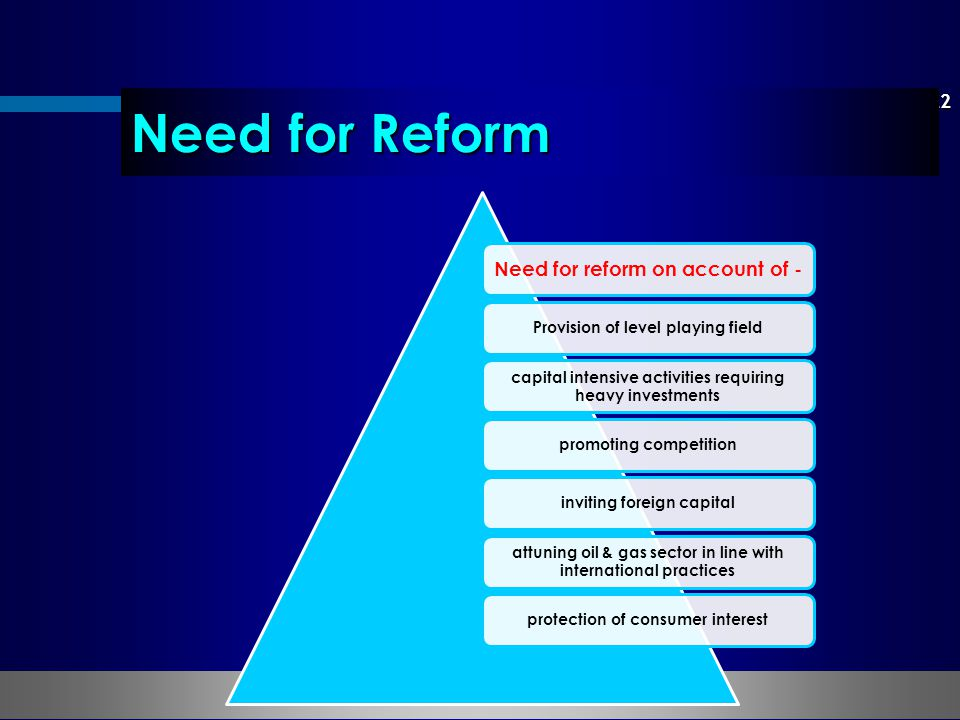 22 Need for Reform Need for reform on account of - Provision of level playing field capital intensive activities requiring heavy investments promoting competitioninviting foreign capital attuning oil & gas sector in line with international practices protection of consumer interest