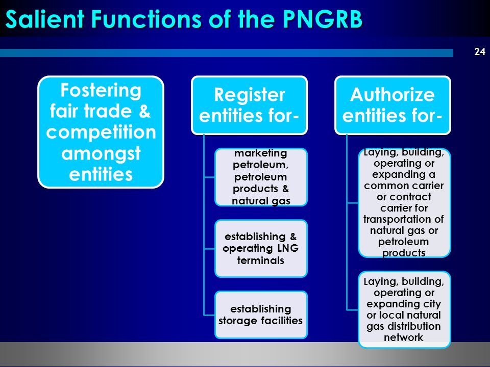 24 Salient Functions of the PNGRB Fostering fair trade & competition amongst entities Register entities for- marketing petroleum, petroleum products &