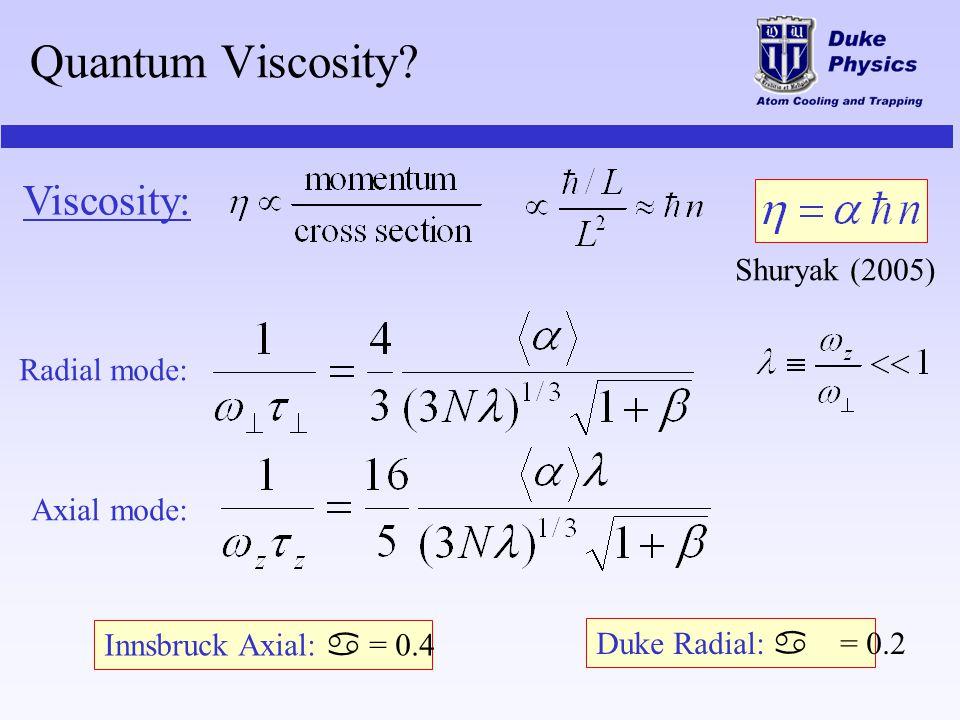 Quantum Viscosity? Radial mode: Axial mode: Innsbruck Axial: a = 0.4 Duke Radial: a = 0.2 Viscosity: Shuryak (2005)