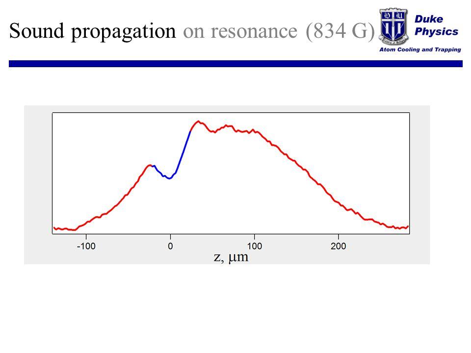 Sound propagation on resonance (834 G)