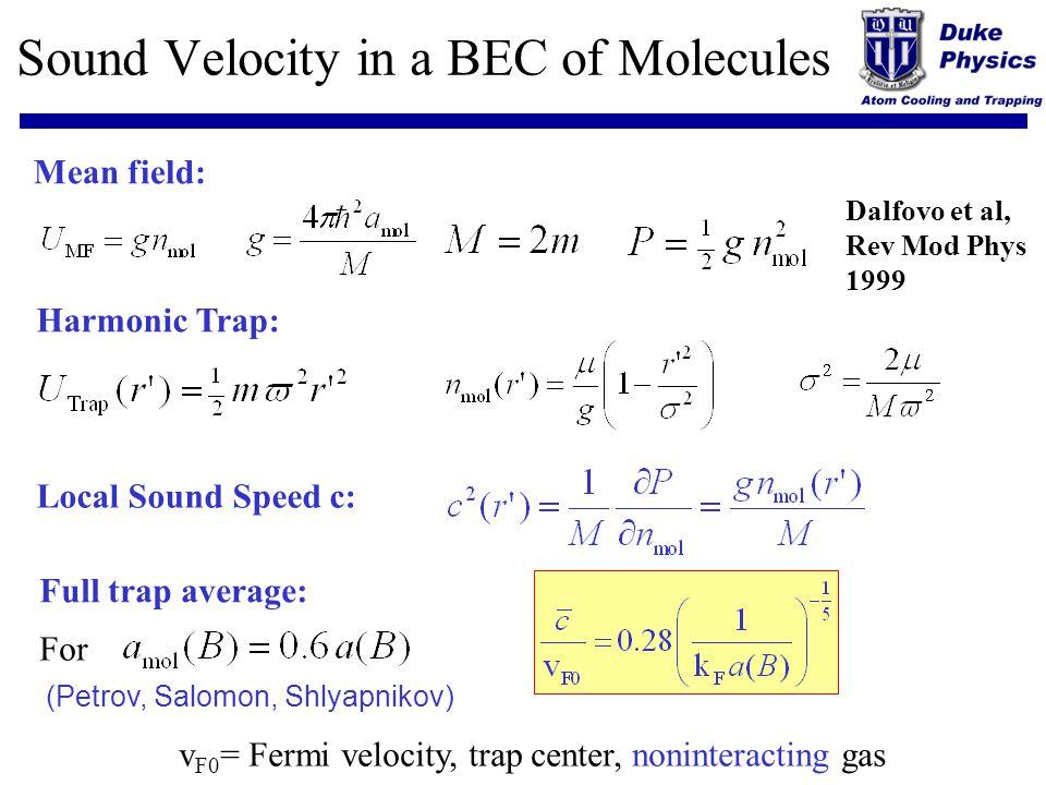 Sound Velocity in a BEC of Molecules Mean field: Harmonic Trap: Local Sound Speed c: Full trap average: v F0 = Fermi velocity, trap center, noninterac