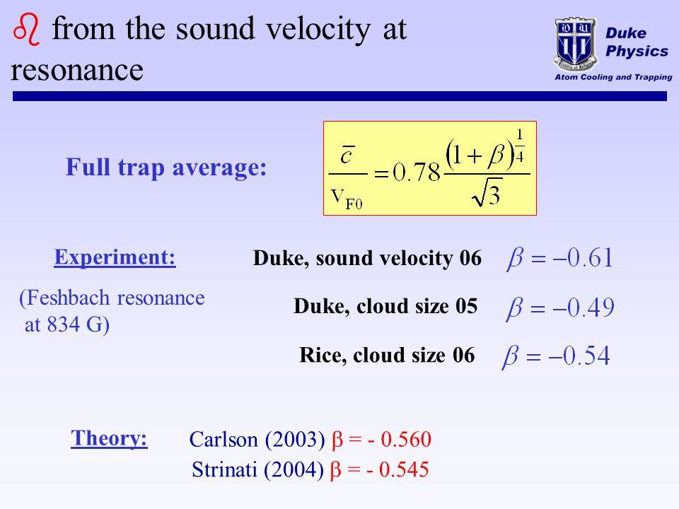 b from the sound velocity at resonance Full trap average: Rice, cloud size 06 Duke, cloud size 05 Duke, sound velocity 06 Carlson (2003) = - 0.560 Str