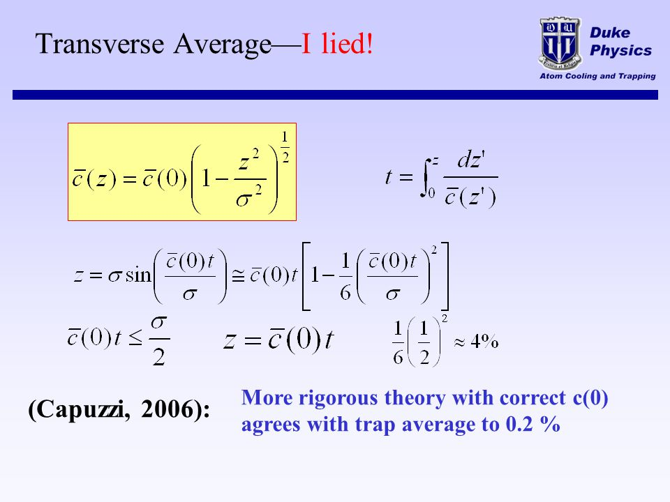 Transverse AverageI lied! More rigorous theory with correct c(0) agrees with trap average to 0.2 % (Capuzzi, 2006):