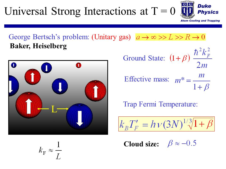 Universal Strong Interactions at T = 0 George Bertschs problem: (Unitary gas) L Ground State: Trap Fermi Temperature: Effective mass: Cloud size: Bake