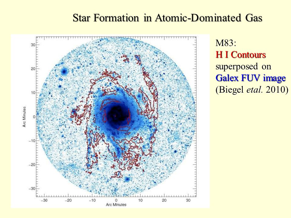 Star Formation in Atomic-Dominated Gas M83: H I Contours superposed on Galex FUV image (Biegel etal.