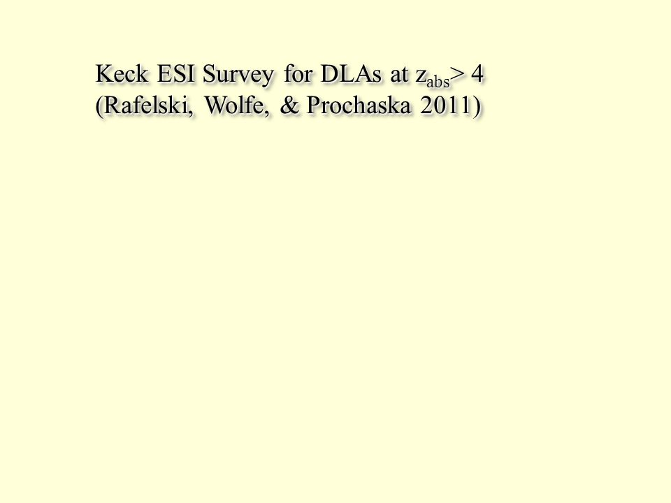 Keck ESI Survey for DLAs at z abs > 4 (Rafelski, Wolfe, & Prochaska 2011) Keck ESI Survey for DLAs at z abs > 4 (Rafelski, Wolfe, & Prochaska 2011)
