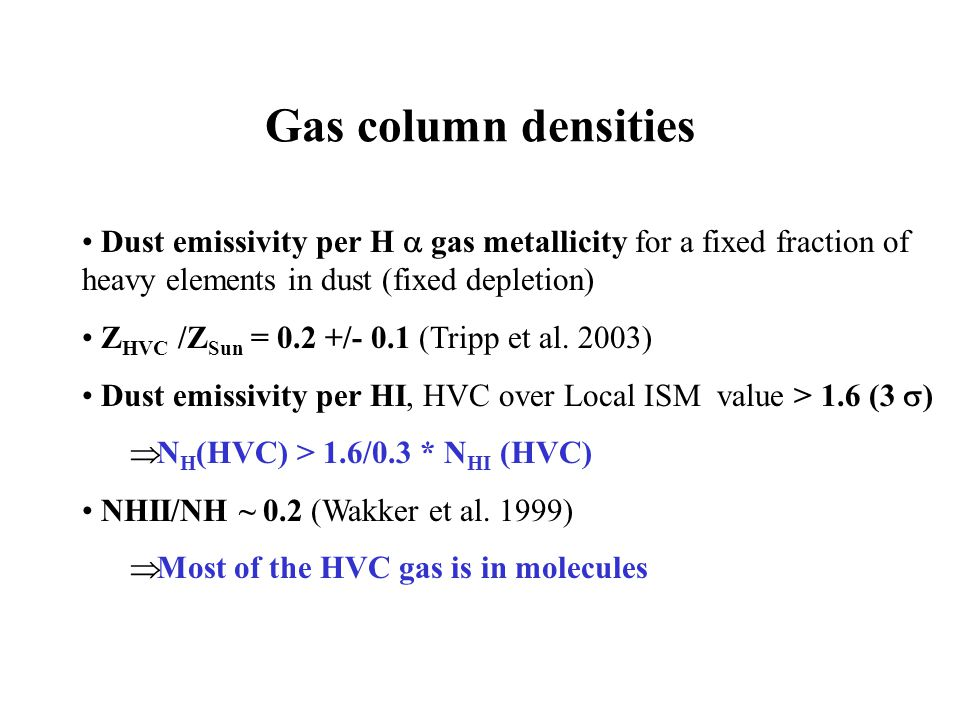 Gas column densities Dust emissivity per H gas metallicity for a fixed fraction of heavy elements in dust (fixed depletion) Z HVC /Z Sun = 0.2 +/- 0.1 (Tripp et al.