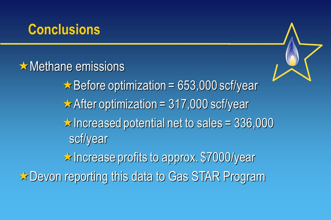 Conclusions Methane emissions Methane emissions Before optimization = 653,000 scf/year Before optimization = 653,000 scf/year After optimization = 317