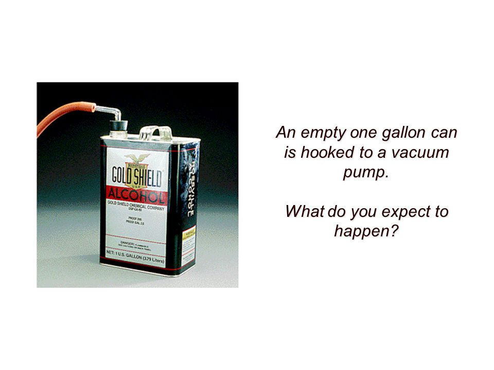 An empty one gallon can is hooked to a vacuum pump. What do you expect to happen?
