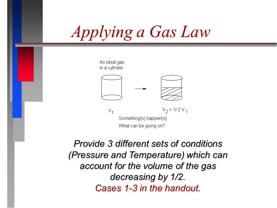 Provide 3 different sets of conditions (Pressure and Temperature) which can account for the volume of the gas decreasing by 1/2. Cases 1-3 in the hand