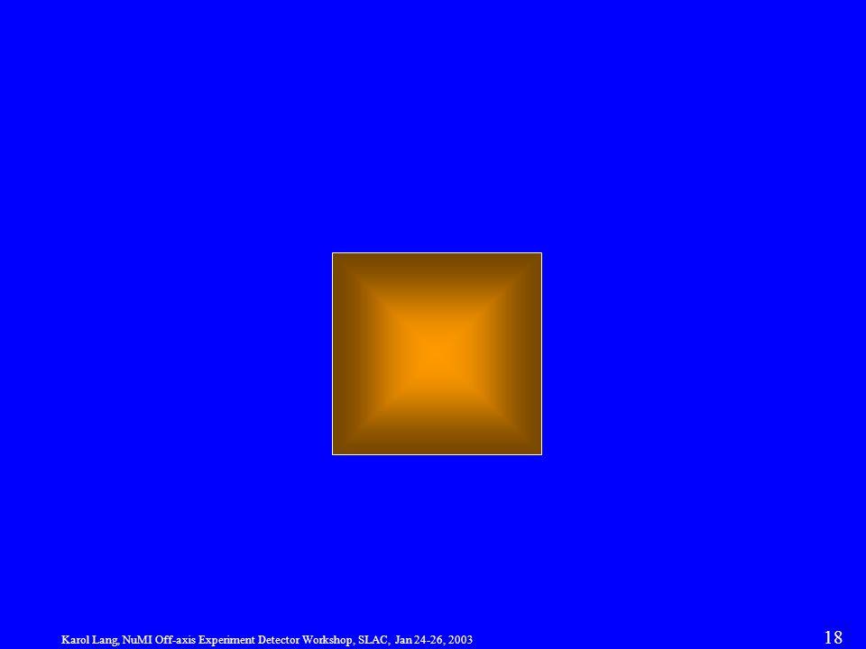 Karol Lang, NuMI Off-axis Experiment Detector Workshop, SLAC, Jan 24-26, 2003 18