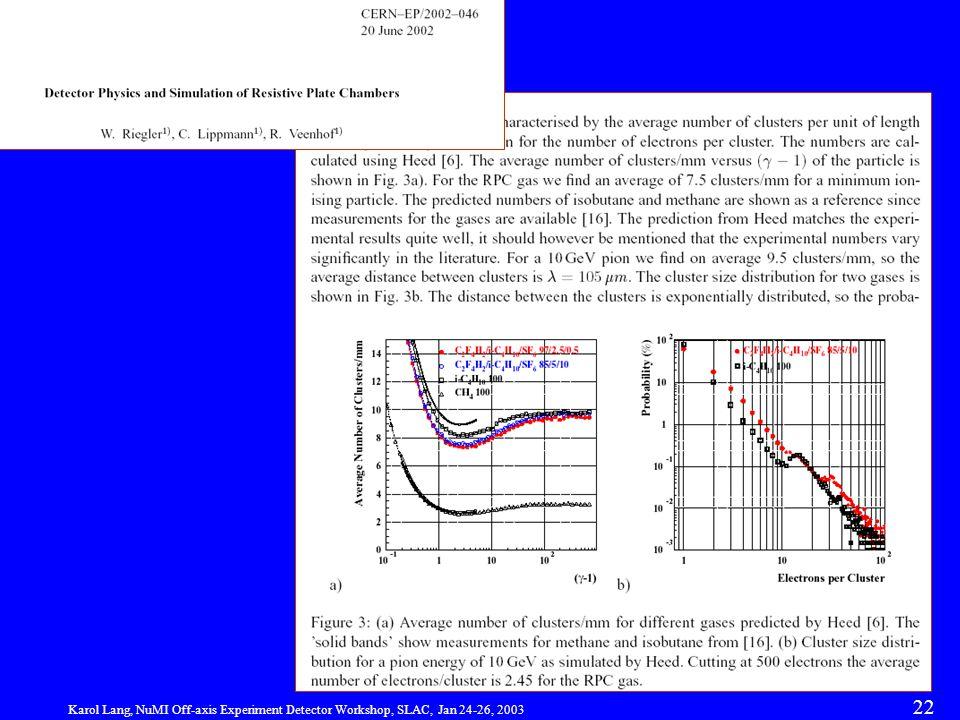 Karol Lang, NuMI Off-axis Experiment Detector Workshop, SLAC, Jan 24-26, 2003 22