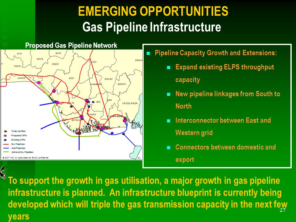 27 EMERGING OPPORTUNITIES Gas Pipeline Infrastructure To support the growth in gas utilisation, a major growth in gas pipeline infrastructure is planned.