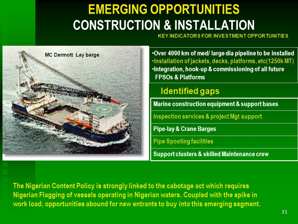31 EMERGING OPPORTUNITIES CONSTRUCTION & INSTALLATION Pipe-lay & Crane Barges Inspection services & project Mgt support Marine construction equipment & support bases Pipe Spooling facilities Support clusters & skilled Maintenance crew Over 4000 km of med/ large dia pipeline to be installed Installation of jackets, decks, platforms, etc(1250k MT) Integration, hook-up & commissioning of all future FPSOs & Platforms Identified gaps KEY INDICATORS FOR INVESTMENT OPPORTUNITIES The Nigerian Content Policy is strongly linked to the cabotage act which requires Nigerian Flagging of vessels operating in Nigerian waters.