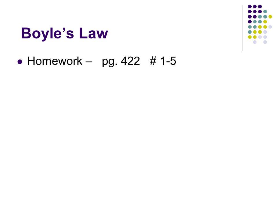 Boyles Law Homework – pg. 422 # 1-5