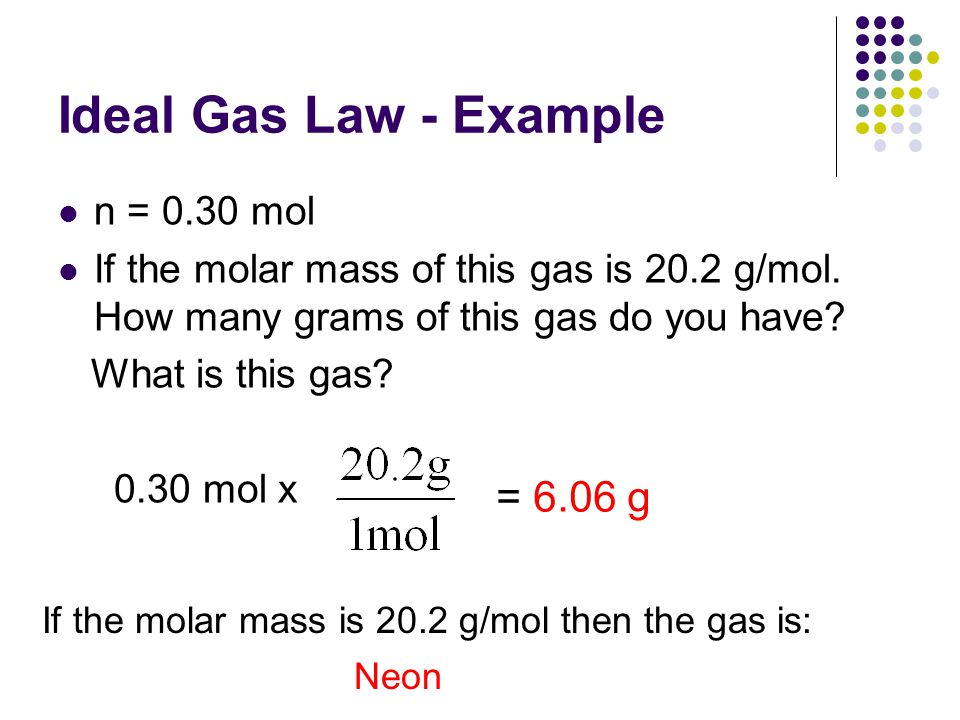 Ideal Gas Law - Example n = 0.30 mol If the molar mass of this gas is 20.2 g/mol. How many grams of this gas do you have? What is this gas? 0.30 mol x