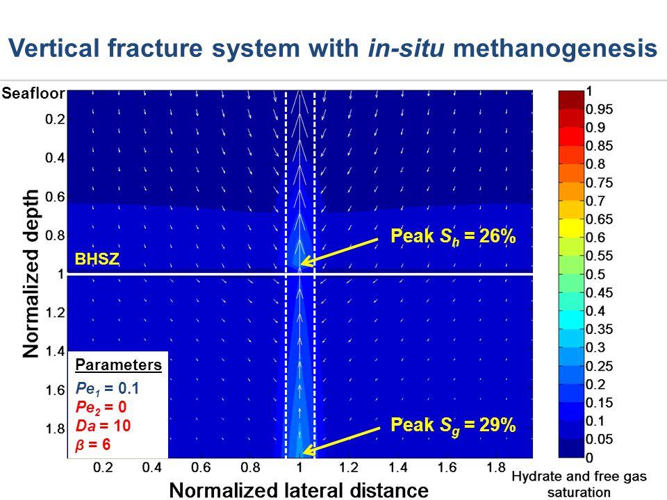 Peak S h = 26% Peak S g = 29% Vertical fracture system with in-situ methanogenesis Seafloor Parameters Pe 1 = 0.1 Pe 2 = 0 Da = 10 β = 6