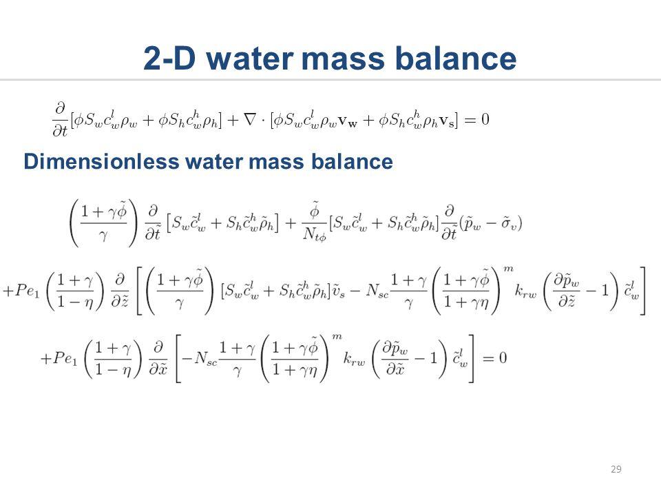 2-D water mass balance Dimensionless water mass balance 29