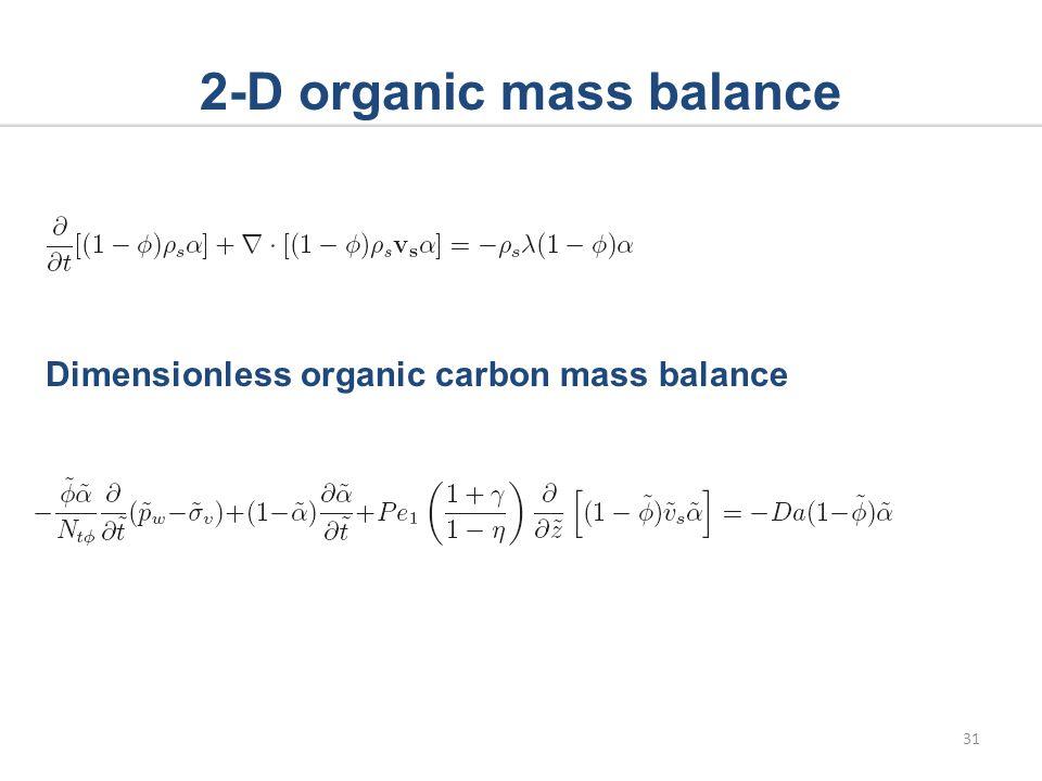 2-D organic mass balance Dimensionless organic carbon mass balance 31
