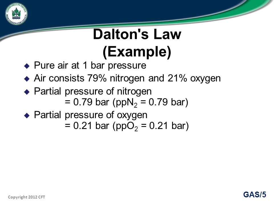 Copyright 2012 CFT GAS/5 Dalton s Law (Example) Pure air at 1 bar pressure Air consists 79% nitrogen and 21% oxygen Partial pressure of nitrogen = 0.79 bar (ppN 2 = 0.79 bar) Partial pressure of oxygen = 0.21 bar (ppO 2 = 0.21 bar)