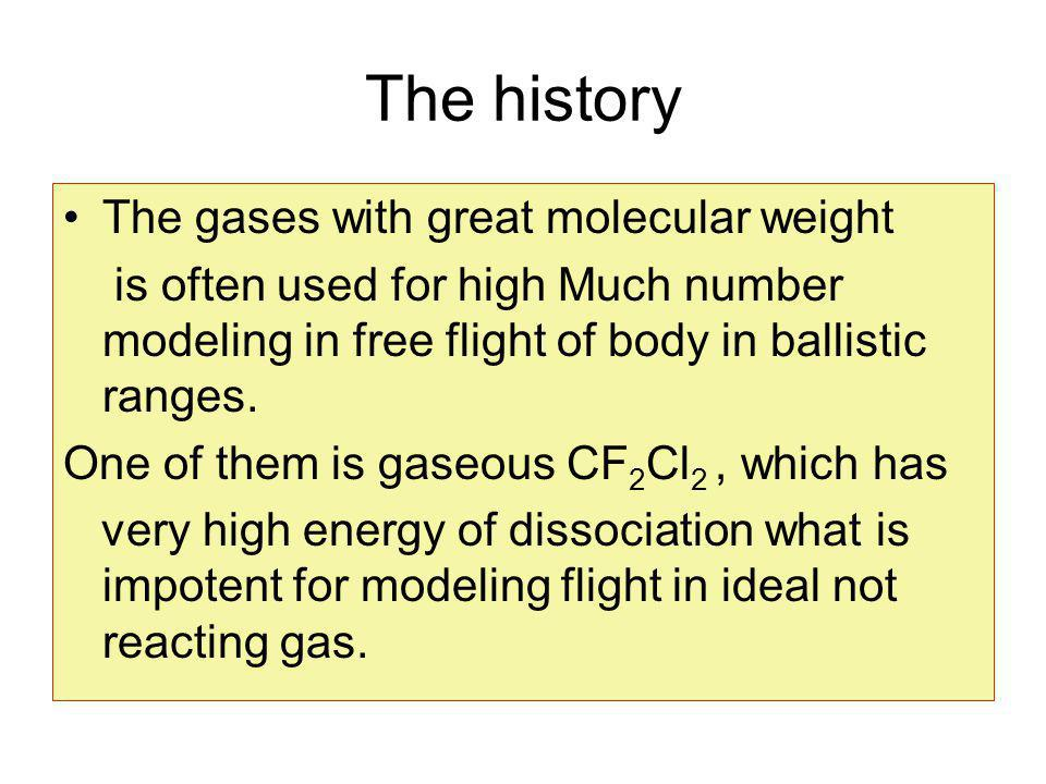 The history The gases with great molecular weight is often used for high Much number modeling in free flight of body in ballistic ranges.