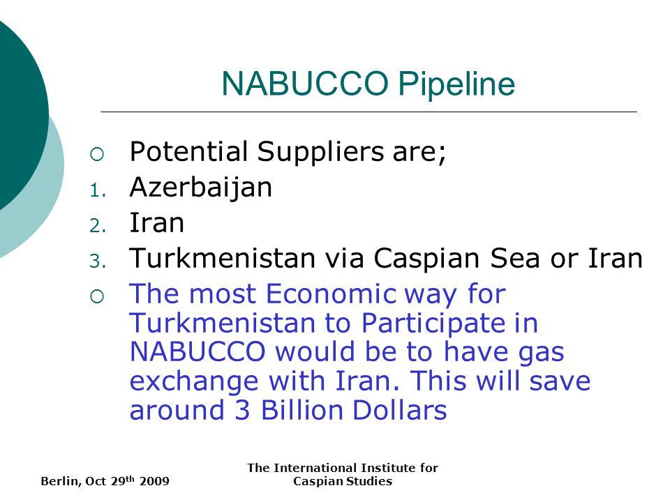 Berlin, Oct 29 th 2009 The International Institute for Caspian Studies NABUCCO Pipeline Potential Suppliers are; 1. Azerbaijan 2. Iran 3. Turkmenistan