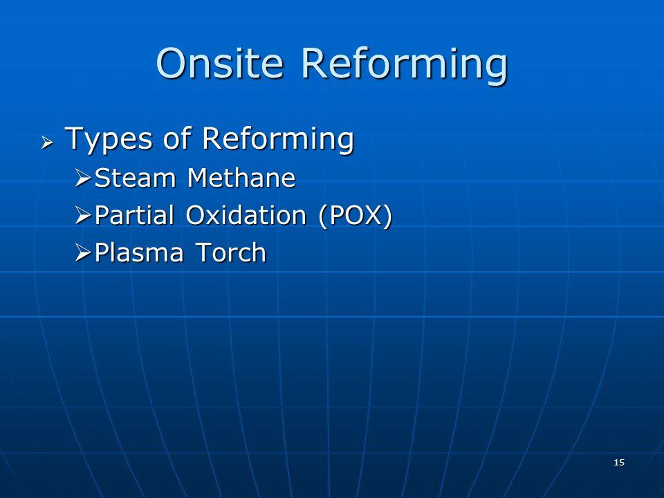 15 Onsite Reforming Types of Reforming Types of Reforming Steam Methane Steam Methane Partial Oxidation (POX) Partial Oxidation (POX) Plasma Torch Plasma Torch