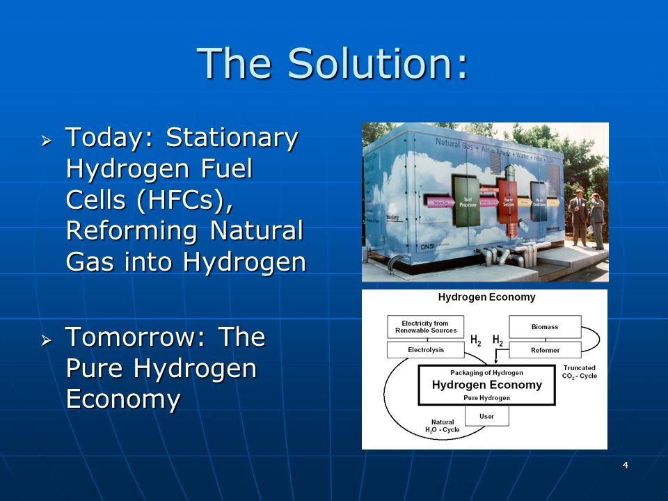 4 The Solution: Today: Stationary Hydrogen Fuel Cells (HFCs), Reforming Natural Gas into Hydrogen Today: Stationary Hydrogen Fuel Cells (HFCs), Reforming Natural Gas into Hydrogen Tomorrow: The Pure Hydrogen Economy Tomorrow: The Pure Hydrogen Economy
