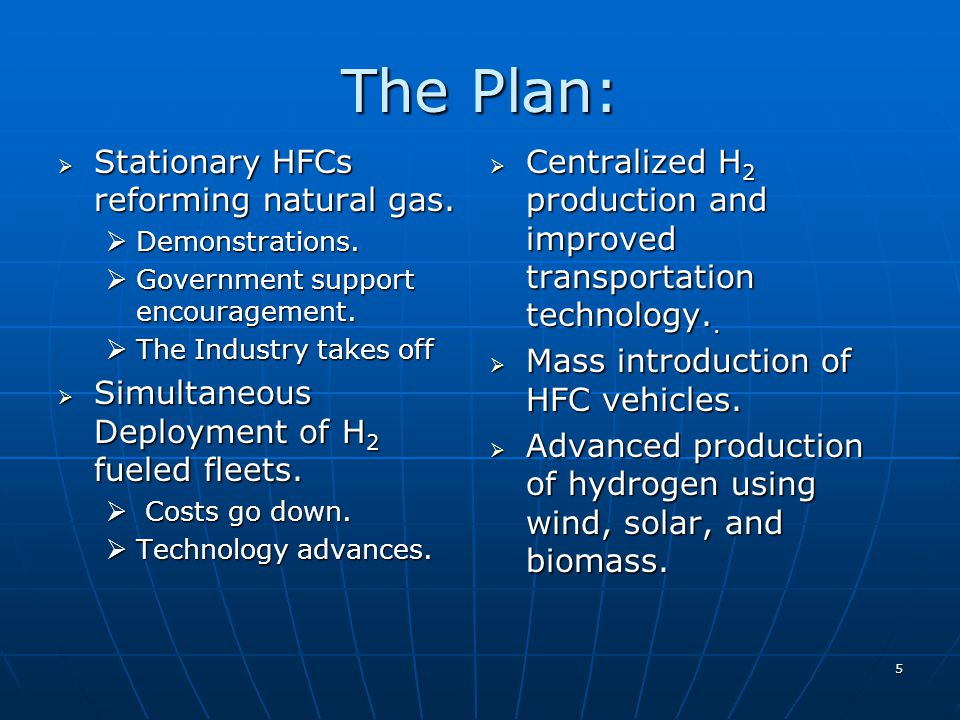 5 The Plan: Stationary HFCs reforming natural gas.