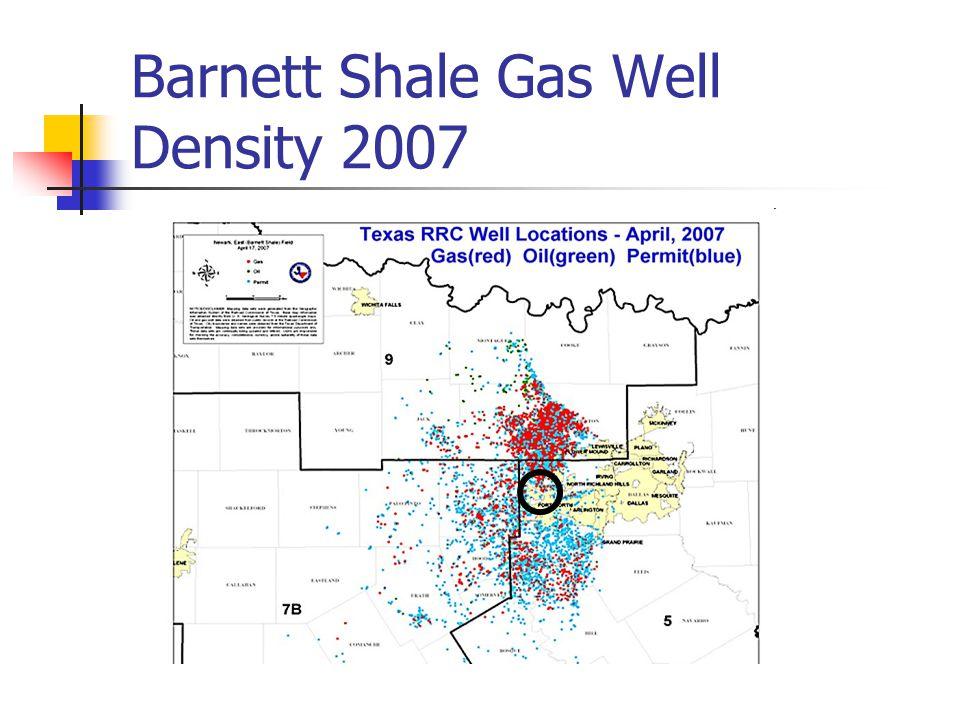 Barnett Shale Gas Well Density 2007