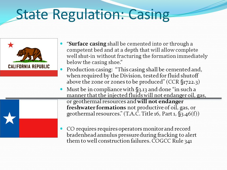 State Regulation: Casing Surface casing shall be cemented into or through a competent bed and at a depth that will allow complete well shut-in without fracturing the formation immediately below the casing shoe.
