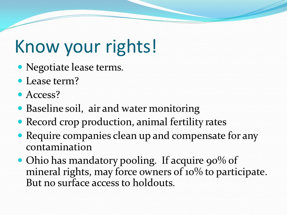 Know your rights. Negotiate lease terms. Lease term.
