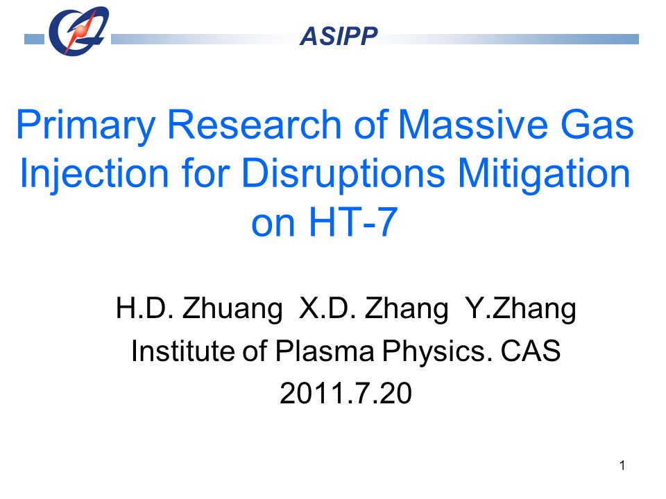 1 Primary Research of Massive Gas Injection for Disruptions Mitigation on HT-7 H.D.