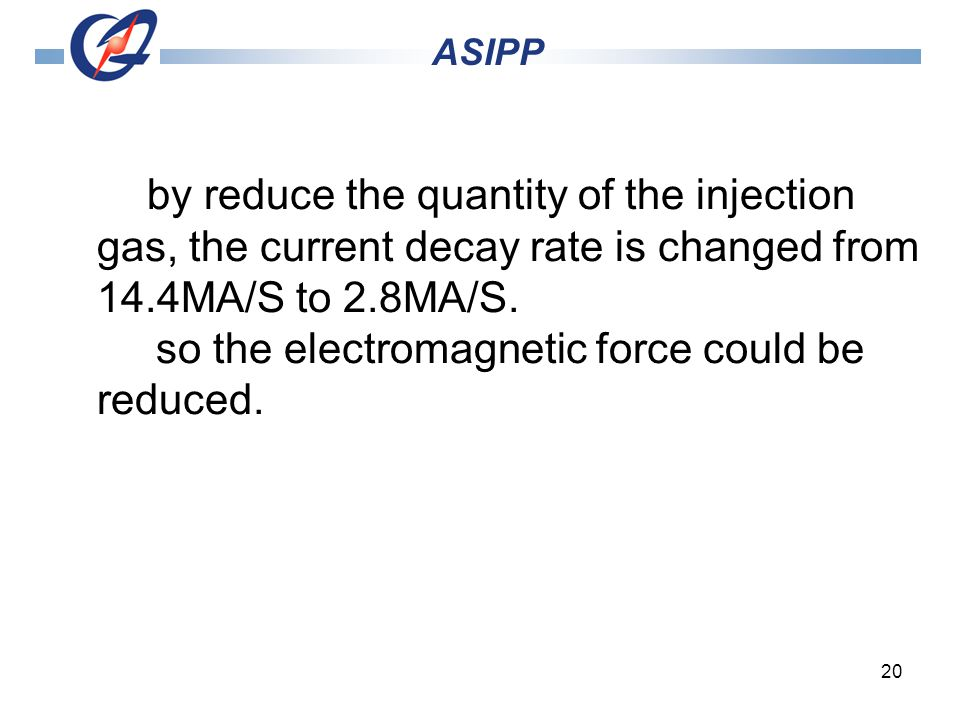 20 ASIPP by reduce the quantity of the injection gas, the current decay rate is changed from 14.4MA/S to 2.8MA/S.