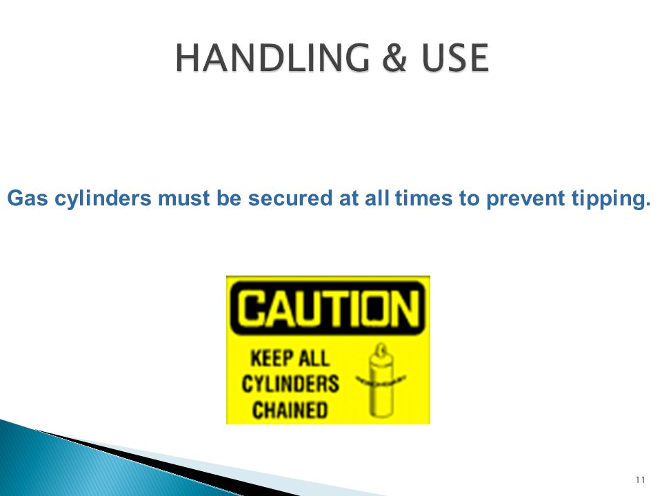 Gas cylinders must be secured at all times to prevent tipping. 11