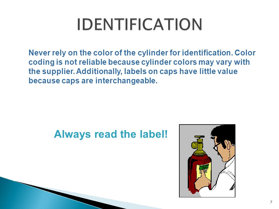 Never rely on the color of the cylinder for identification. Color coding is not reliable because cylinder colors may vary with the supplier. Additiona