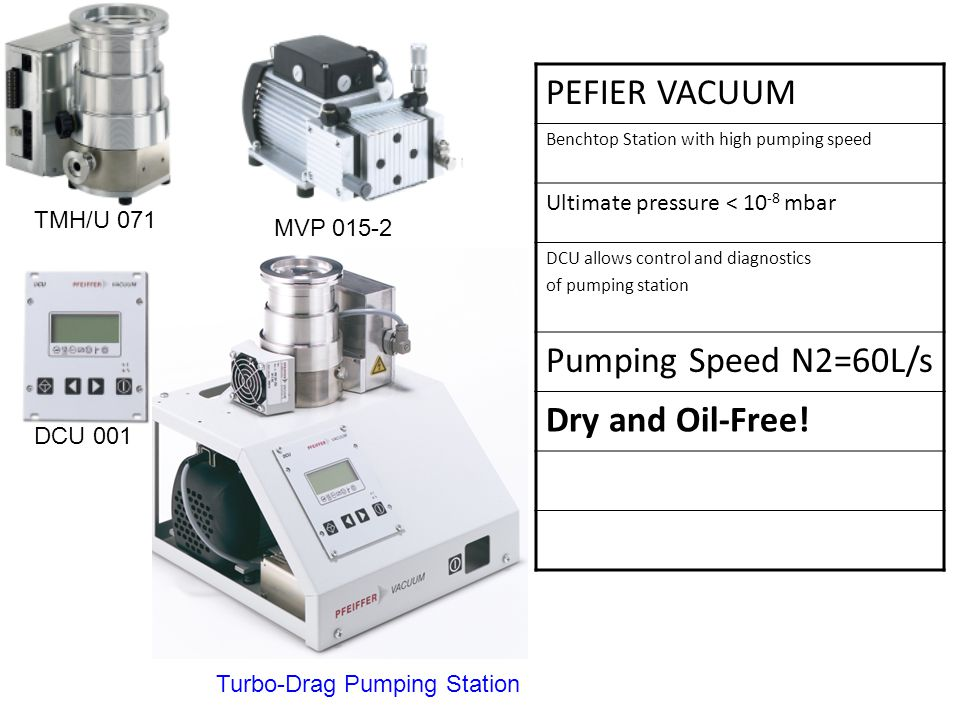 PEFIER VACUUM Benchtop Station with high pumping speed Ultimate pressure < mbar DCU allows control and diagnostics of pumping station Pumping Speed N2=60L/s Dry and Oil-Free.
