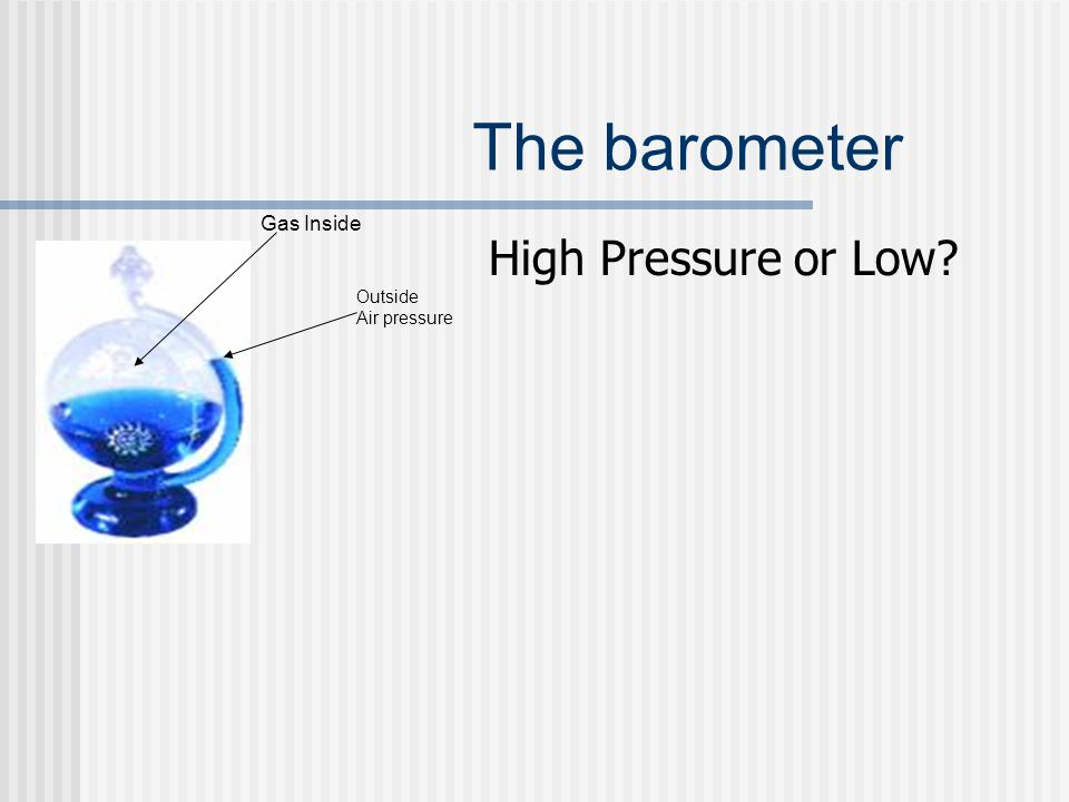 The barometer High Pressure or Low? Gas Inside Outside Air pressure