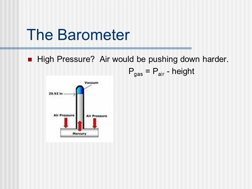 The Barometer High Pressure Air would be pushing down harder. P gas = P air - height