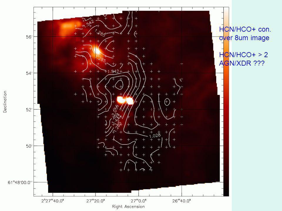 HCN/HCO+ con. over 8um image HCN/HCO+ > 2 AGN/XDR