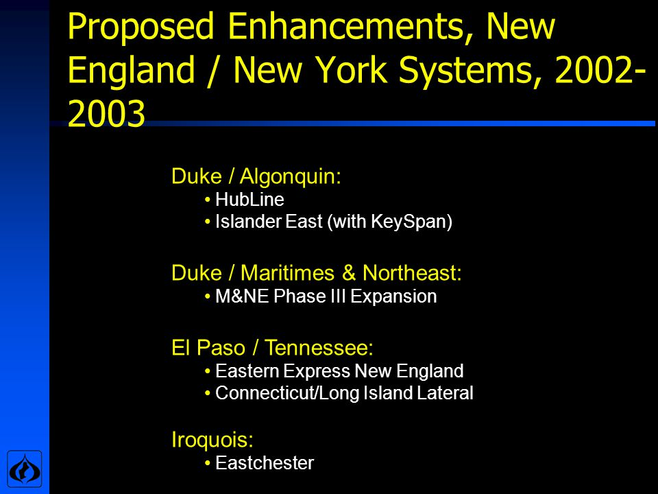 Proposed Enhancements, New England / New York Systems, 2002- 2003 Duke / Algonquin: HubLine Islander East (with KeySpan) Duke / Maritimes & Northeast: M&NE Phase III Expansion El Paso / Tennessee: Eastern Express New England Connecticut/Long Island Lateral Iroquois: Eastchester
