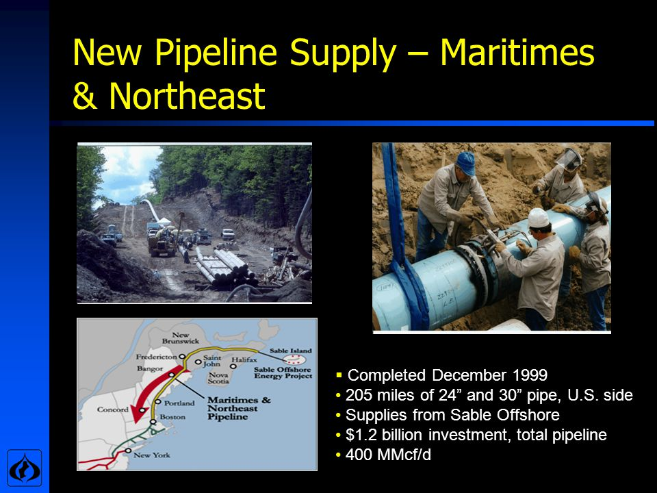New Pipeline Supply – Maritimes & Northeast Completed December 1999 205 miles of 24 and 30 pipe, U.S.
