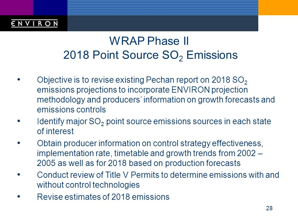 28 WRAP Phase II 2018 Point Source SO 2 Emissions Objective is to revise existing Pechan report on 2018 SO 2 emissions projections to incorporate ENVIRON projection methodology and producers information on growth forecasts and emissions controls Identify major SO 2 point source emissions sources in each state of interest Obtain producer information on control strategy effectiveness, implementation rate, timetable and growth trends from 2002 – 2005 as well as for 2018 based on production forecasts Conduct review of Title V Permits to determine emissions with and without control technologies Revise estimates of 2018 emissions