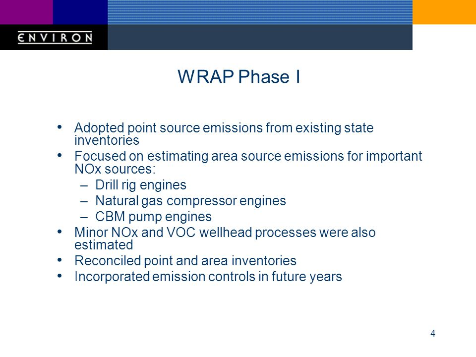 4 WRAP Phase I Adopted point source emissions from existing state inventories Focused on estimating area source emissions for important NOx sources: –