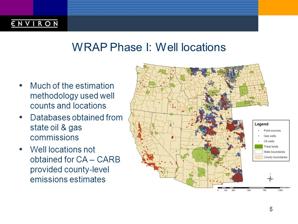 5 WRAP Phase I: Well locations Much of the estimation methodology used well counts and locations Databases obtained from state oil & gas commissions Well locations not obtained for CA – CARB provided county-level emissions estimates