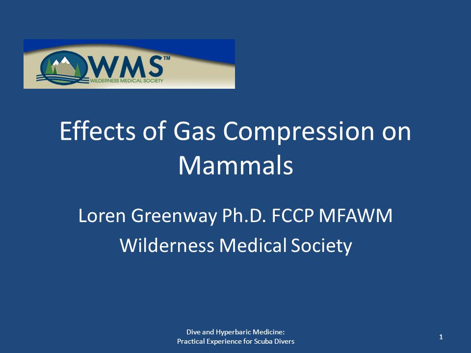 Effects of Gas Compression on Mammals Loren Greenway Ph.D. FCCP MFAWM Wilderness Medical Society 1 Dive and Hyperbaric Medicine: Practical Experience
