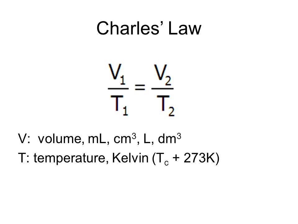 Charles Law V: volume, mL, cm 3, L, dm 3 T: temperature, Kelvin (T c + 273K)