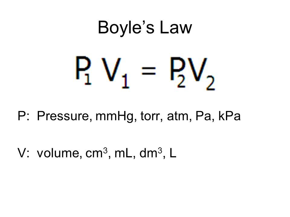 Boyles Law P: Pressure, mmHg, torr, atm, Pa, kPa V: volume, cm 3, mL, dm 3, L