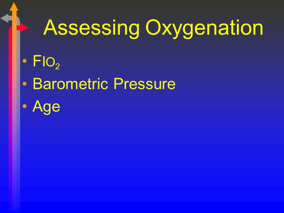 Assessing Oxygenation F I O 2 Barometric Pressure Age