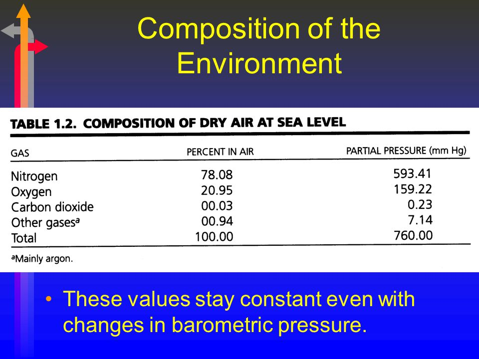 Composition of the Environment These values stay constant even with changes in barometric pressure.